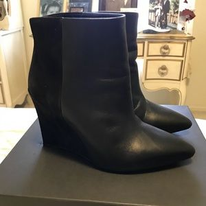 All Saints black leather/suede booties